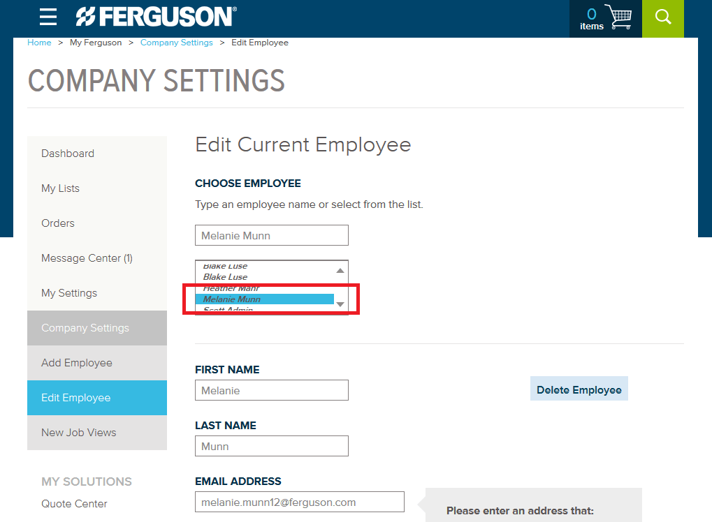 Ferguson Company Settings How-To Step 13