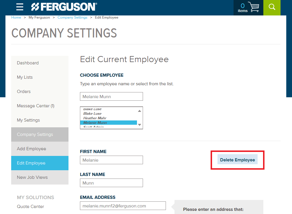 Ferguson Company Settings How-To Step 14