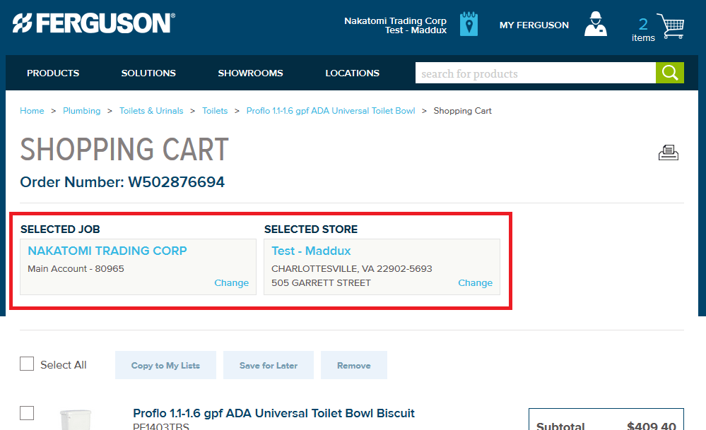 Job Board - Shopping cart