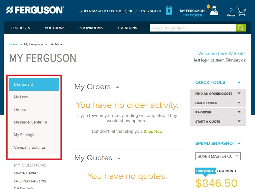 How to navigate on Dashboard on Ferguson.com.