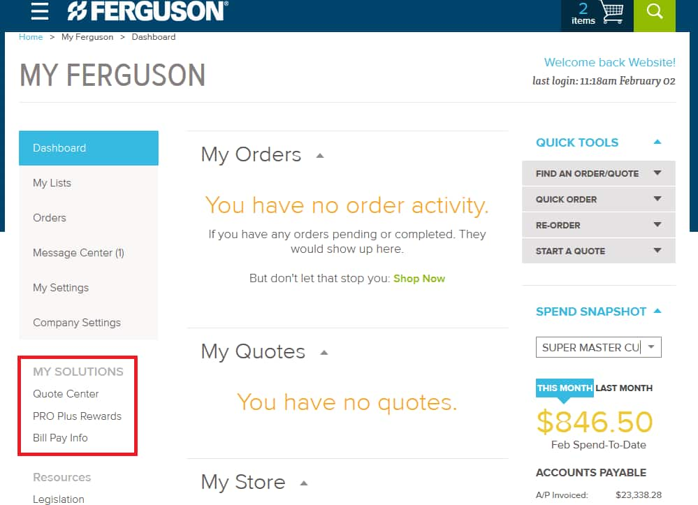 My Solutions on Ferguson.com Dashboard.