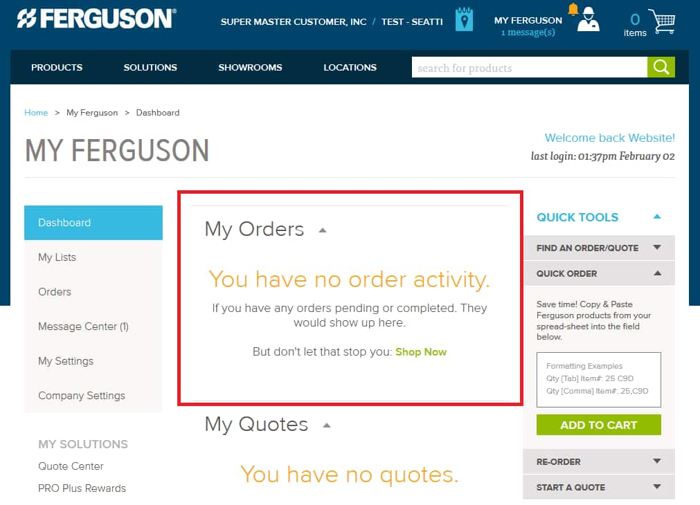 Orders on Ferguson.com Dashboard.