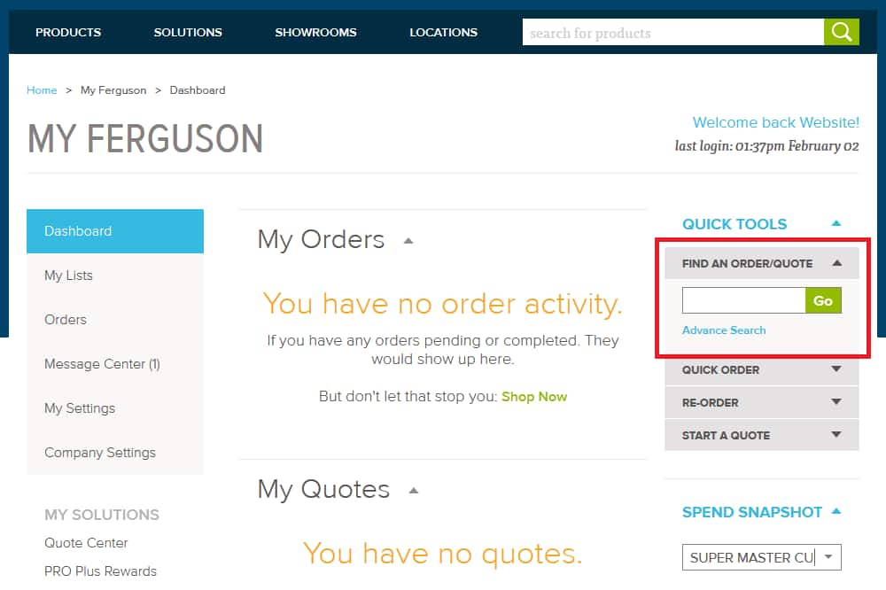 Find an order with Quick Tools on Ferguson.com Dashboard.
