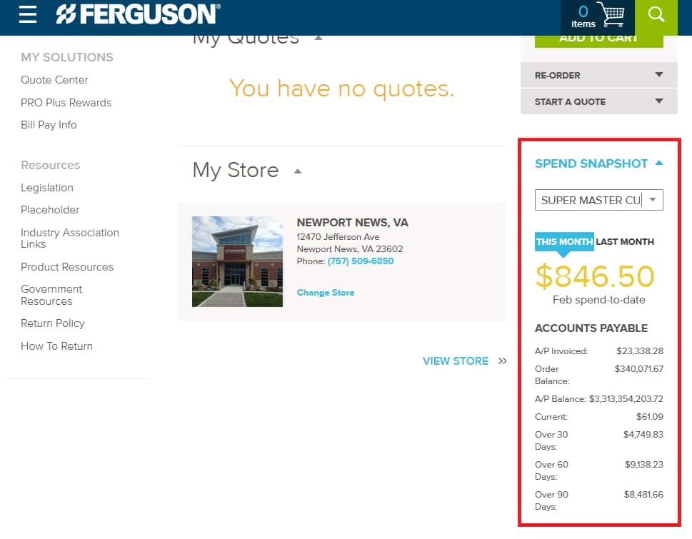 View your Spend Snapshot on Ferguson.com Dashboard.