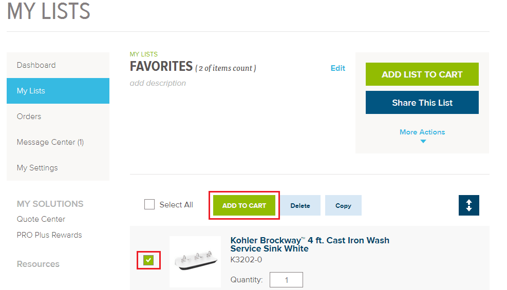 Click the box next to an image and add it to your cart.
