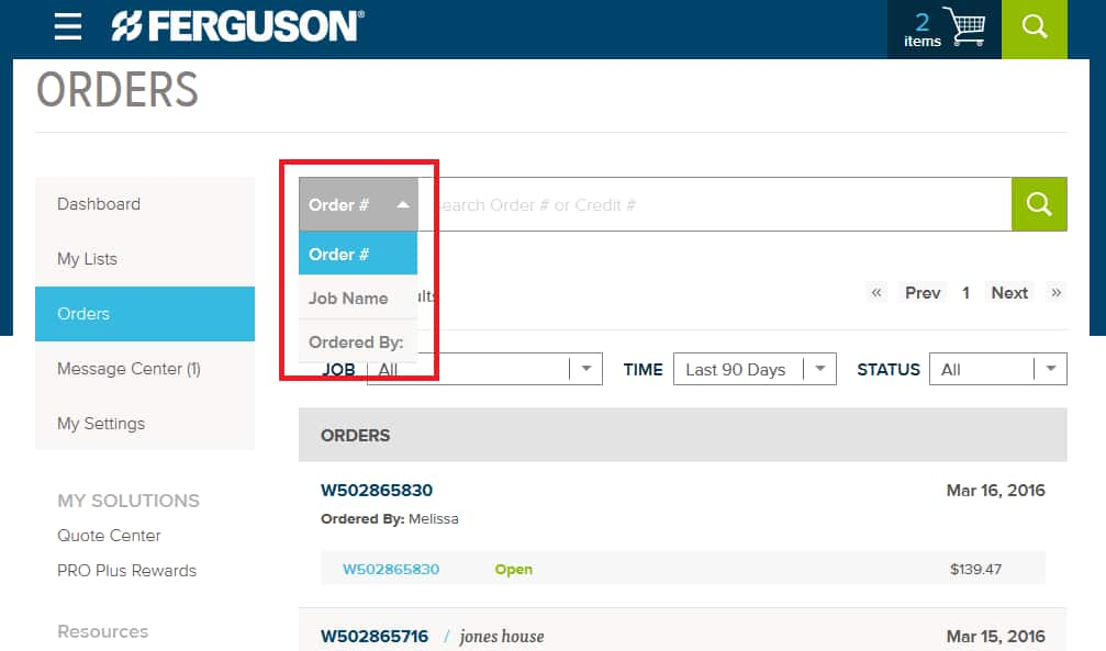 Use the search filters to find your order information.