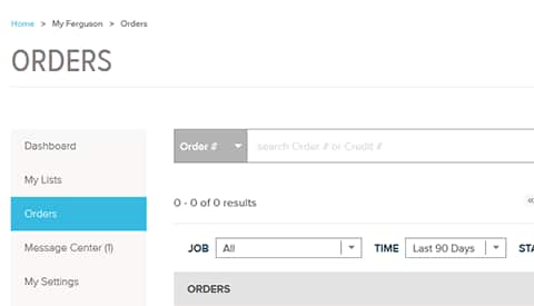 Check Order Status - Ferguson.com Features