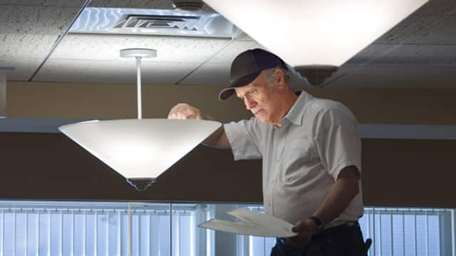 LED light bulbs hanging from ceiling.