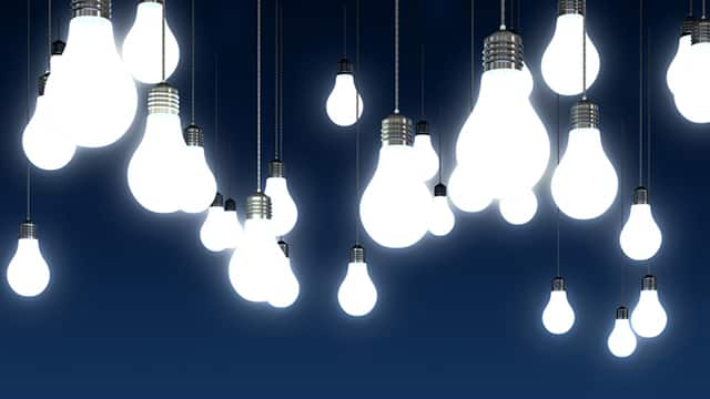 LED lightbulbs hanging bright.