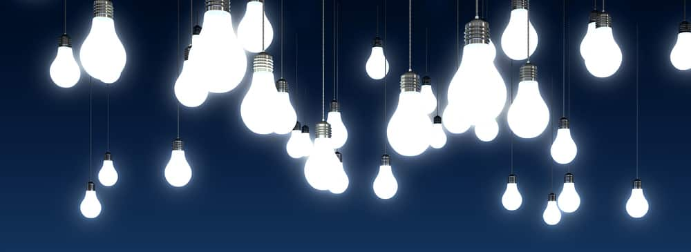 Bright LED lightbulbs hanging.