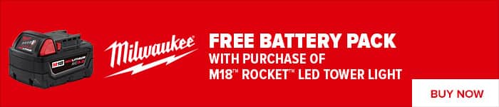 Milwaukee M18 Rocket LED Tower Light with free battery after rebate