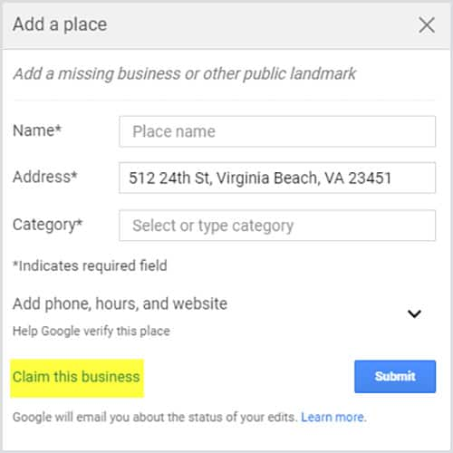 "how to claim your business in google step 2: Click ""Claim this business"