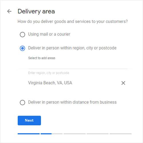 how to claim your business in google step 3: Select your service area.