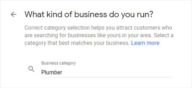 how to claim your business in google step 3: Input your business category.