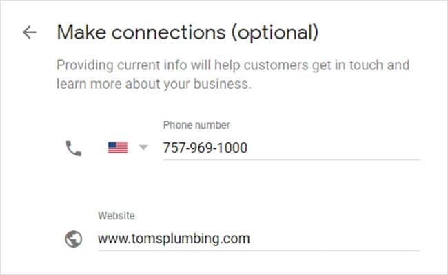 how to claim your business in google step 3: Add contact information, including phone number.