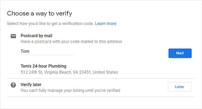 how to claim your business in google step 4: Verify your business.