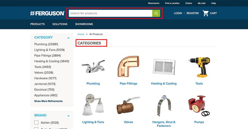 Browse for products using the search feature, or find products by category.