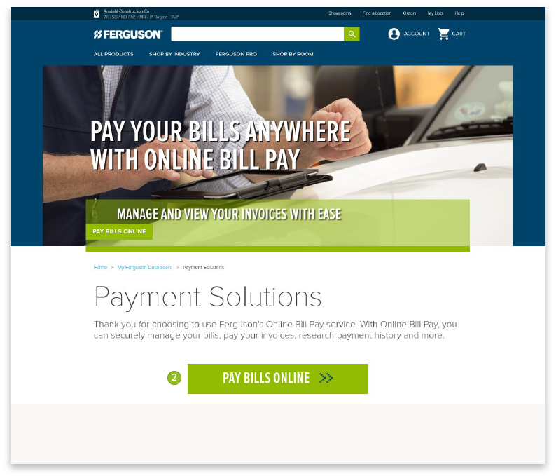 Online Bill Pay for Commercial Credit Accounts - Ferguson
